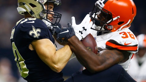 <p>               FILE - In this Sept. 16, 2018, file photo, New Orleans Saints wide receiver Austin Carr, left, cannot hold on to the football as Cleveland Browns defensive back T.J. Carrie (38) defends during the first half of an NFL football game in New Orleans. New Browns general manager Andrew Berry cleared $13 million in salary-cap space Monday, Feb. 17, 2020, by releasing veteran cornerback Carrie and three others players signed by former GM John Dorsey. (AP Photo/Butch Dill, File)             </p>