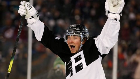 <p>               Los Angeles Kings right wing Tyler Toffoli celebrates after scoring the go-ahead goal against the Colorado Avalanche during the third period of an NHL hockey game Saturday, Feb. 15, 2020, at Air Force Academy, Colo. The Kings won 3-1. (AP Photo/David Zalubowski)             </p>