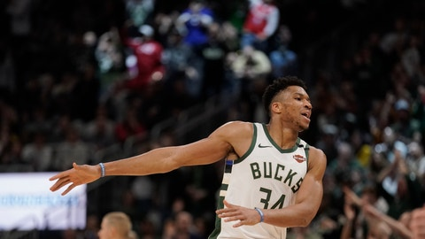 <p>               Milwaukee Bucks' Giannis Antetokounmpo reacts after making a three-point basket during the second half of an NBA basketball game against the Philadelphia 76ers Saturday, Feb. 22, 2020, in Milwaukee. The Bucks won 119-98. (AP Photo/Morry Gash)             </p>