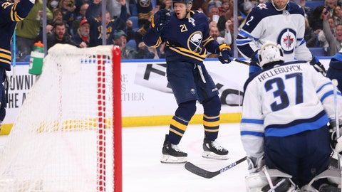 <p>               Buffalo Sabres forward Kyle Okposo (21) puts the puck past Winnipeg Jets goalie Connor Hellebuyck (37) during the first period of an NHL hockey game Sunday, Feb. 23, 2020, in Buffalo, N.Y. (AP Photo/Jeffrey T. Barnes)             </p>