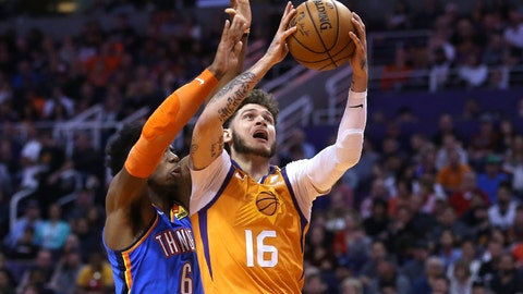 <p>               Phoenix Suns guard Tyler Johnson (16) drives past Oklahoma City Thunder guard Hamidou Diallo (6) during the second half of an NBA basketball game Friday, Jan. 31, 2020, in Phoenix. The Thunder won 111-107. (AP Photo/Ross D. Franklin)             </p>