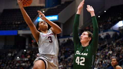 <p>               Connecticut's Megan Walker (3) shoots over Tulane's Mia Heide (42) in the first half of an NCAA college basketball game, Wednesday, Feb. 19, 2020, in Hartford, Conn. (AP Photo/Jessica Hill)             </p>