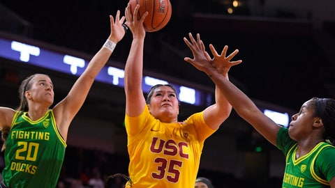 <p>               Southern California forward Alissa Pili, center, shoots as Oregon guard Sabrina Ionescu, left, and forward Ruthy Hebard defend during the first half of an NCAA women's college basketball game Sunday, Feb. 16, 2020, in Los Angeles. (AP Photo/Mark J. Terrill)             </p>