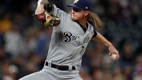 <p>               FILE - In this Saturday, Sept. 28, 2019 file photo,Milwaukee Brewers relief pitcher Josh Hader (71) in the ninth inning of a baseball game in Denver. All-Star closer Josh Hader went to a hearing with Milwaukee on Thursday, Feb. 13, 2020 after just making the eligibility cutoff with 2 years, 115 days of major league service. Hader asked for a raise from $687,600 to $6.4 million, and the Brewers argued for $4.1 million. (AP Photo/David Zalubowski, File)             </p>