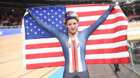<p>               Chloe Dygert from the USA celebrates after winning the gold medal in the nne-player pursuit, women's final at the Cycling World Championship in Berlin, Germany, Saturday, Feb. 29, 2020. (Sebastian Gollnow/dpa via AP)             </p>