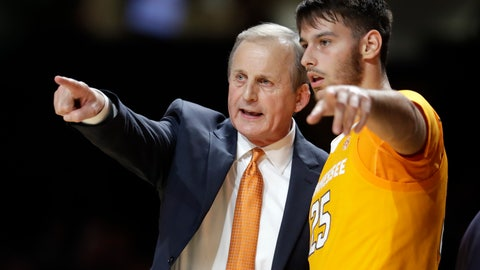 <p>               Tennessee coach Rick Barnes talks with guard Santiago Vescovi during the second half of the team's NCAA college basketball game against Vanderbilt on Saturday, Jan. 18, 2020, in Nashville, Tenn. Tennessee won 66-45. (AP Photo/Mark Humphrey)             </p>