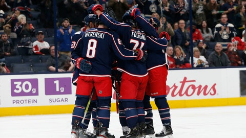 <p>               Columbus Blue Jackets celebrate a goal against the Detroit Red Wings during the second period of an NHL hockey game Friday, Feb. 7, 2020, in Columbus, Ohio. (AP Photo/Jay LaPrete)             </p>