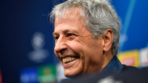 <p>               Dortmund's head coach Lucien Favre laughs to the media at a press conference a day ahead of a the Champions League match in Dortmund, Germany, Monday, Feb. 17, 2020. Borussia Dortmund will play against Paris Saint Germain in a Champions League round of 16 first leg soccer match in Dortmund on Tuesday. (AP Photo/Martin Meissner)             </p>
