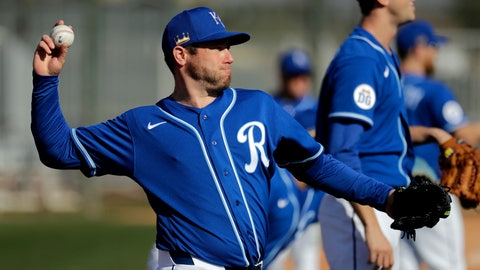 <p>               Kansas City Royals pitcher Greg Holland throws during spring training baseball practice Wednesday, Feb. 12, 2020, in Surprise, Ariz. (AP Photo/Charlie Riedel)             </p>