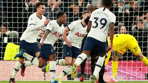 <p>               Tottenham's Steven Bergwijn, 2nd left, celebrates after scoring the opening goal during the English Premier League soccer match between Tottenham Hotspur and Manchester City at the Tottenham Hotspur Stadium in London, England, Sunday, Feb. 2, 2020. (AP Photo/Ian Walton)             </p>