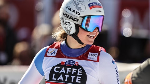 <p>               Switzerland's Corinne Suter smiles as she gets to the finish area after completing an alpine ski, women's World Cup downhill, in Crans Montana, Switzerland, Saturday, Feb. 22, 2020. (AP Photo/Alessandro Trovati)             </p>