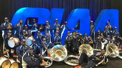 <p>               Members of the Virginia Union band pose in front of a CIAA Tournament sign in Charlotte, N.C., Friday, Feb. 28, 2020. The CIAA college basketball tournament is celebrating its 75th year. (AP Photo/Steve Reed)             </p>