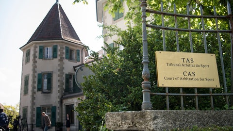 <p>               FILE - In this file photo dated Wednesday, May 1, 2019, the Court of Arbitration for Sport, CAS, headquarters in Lausanne, Switzerland. The Court of Arbitration for Sport has begun a public hearing for cyclist André Cardoso to challenge a four-year ban for doping. Cardoso's lawyers took the option to request a rare public hearing open to registered media and observers. Chinese swimmer Sun Yang was the first party to a CAS case that requested an open-door process under recently modified rules. (Laurent Gillieron/Keystone via AP, File)             </p>