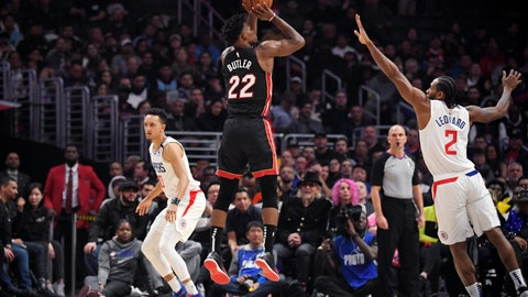 <p>               Miami Heat forward Jimmy Butler shoots as Los Angeles Clippers forward Kawhi Leonard, right, defends along with guard Landry Shamet during the first half of an NBA basketball game Wednesday, Feb. 5, 2020, in Los Angeles. (AP Photo/Mark J. Terrill)             </p>