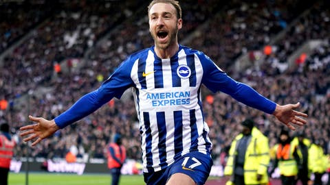 <p>               Brighton and Hove Albion's Glenn Murray celebrates scoring his side's third goal of the game against West Ham United during their English Premier League soccer match at the London Stadium in London, Saturday Feb. 1, 2020. (John Walton/PA via AP)             </p>