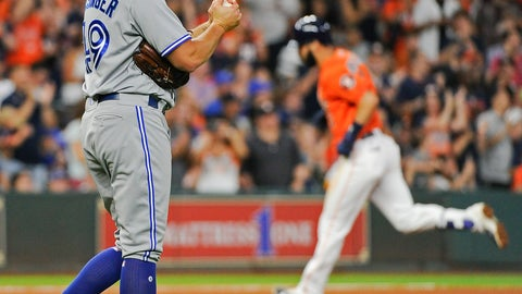 <p>               FILE - In this Aug. 4, 2017 file photo Toronto Blue Jays relief pitcher Mike Bolsinger, left, walks off the mound as Houston Astros' Marwin Gonzalez rounds the bases after hitting a three-run home run during the fourth inning of a baseball game in Houston. Bolsinger sued the Astros on Monday, Feb. 10, 2020 claiming their sign-stealing scheme contributed to a poor relief appearance August 2017 that essentially ended his big league career. (AP Photo/Eric Christian Smith, file)             </p>