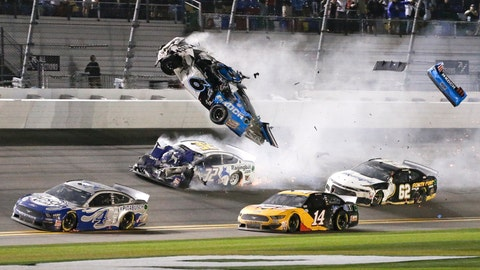 <p>               Ryan Newman (6) goes airborne as he collided with Corey LaJoie (32) on the final lap of the NASCAR Daytona 500 auto race at Daytona International Speedway, Monday, Feb. 17, 2020, in Daytona Beach, Fla. Sunday's race was postponed because of rain. (AP Photo/Terry Renna)             </p>