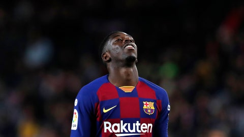 <p>               FILE - In this Nov. 9, 2019 file photo, Barcelona's Ousmane Dembele reacts during Spanish La Liga soccer match between Barcelona and Celta at the Camp Nou stadium in Barcelona. More than 17,000 fans were at the Camp Nou when Ousmane Dembele was officially introduced by Barcelona in 2017. The expectations were high at the time. Two and a half seasons later, though, Barcelona fans are still waiting for Dembele to meet all those expectations that came along with his signing. (AP Photo/Joan Monfort, File)             </p>