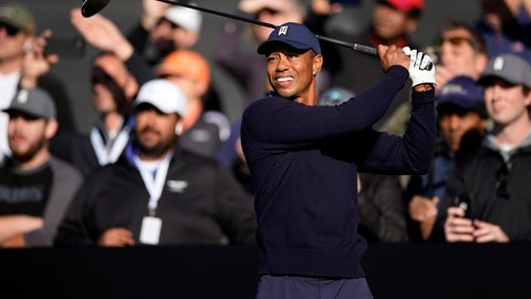 <p>               Tiger Woods hits his tee shot on the 10th hole during the Genesis Invitational pro-am golf event at Riviera Country Club, Wednesday, Feb. 12, 2020, in the Pacific Palisades area of Los Angeles. (AP Photo/Ryan Kang)             </p>