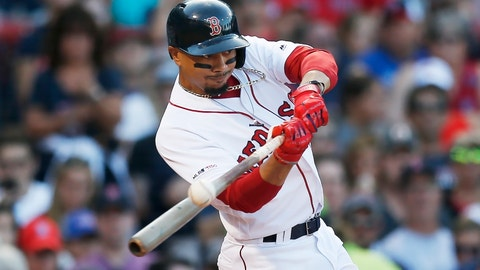 <p>               FILE - In this Aug. 10, 2019, file photo, Boston Red Sox's Mookie Betts hits an RBI-double during the sixth inning of a baseball game against the Los Angeles Angels in Boston. Betts has agreed to a $27 million contract with the Red Sox. It is the largest one-year salary for an arbitration-eligible player.  (AP Photo/Michael Dwyer, File)             </p>