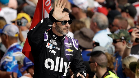 <p>               Jimmie Johnson waves to fans during driver introductions before the NASCAR Daytona 500 auto race Sunday, Feb. 16, 2020, at Daytona International Speedway in Daytona Beach, Fla. Johnson is making his last Daytona 500 start. (AP Photo/Chris O'Meara)             </p>