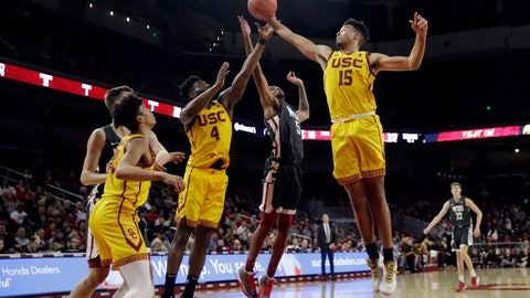 <p>               Southern California's Isaiah Mobley (15) grabs a rebound next to Washington State's Marvin Cannon during the second half of an NCAA college basketball game Saturday, Feb. 15, 2020, in Los Angeles. (AP Photo/Marcio Jose Sanchez)             </p>