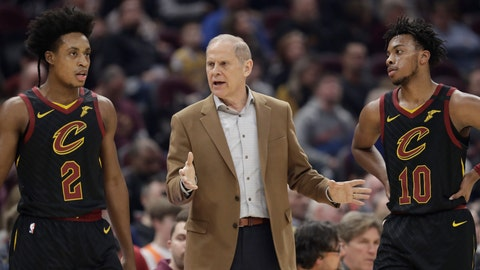 <p>               Cleveland Cavaliers head coach John Beilein, center, talks with Cleveland Cavaliers' Collin Sexton (2) and Darius Garland (10) in the first half of an NBA basketball game against the Atlanta Hawks, Wednesday, Feb. 12, 2020, in Cleveland. (AP Photo/Tony Dejak)             </p>