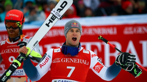 <p>               France's Alexis Pinturault celebrates at the finish area of an alpine ski, men's World Cup giant slalom, in Garmisch Partenkirchen, Germany, Sunday, Feb. 2, 2020. (AP Photo/Marco Trovati)             </p>