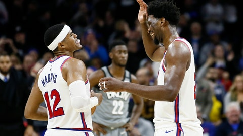 <p>               Philadelphia 76ers' Tobias Harris, left, and Joel Embiid celebrate during overtime in an NBA basketball game against the Brooklyn Nets, Thursday, Feb. 20, 2020, in Philadelphia. Philadelphia won 112-104. (AP Photo/Matt Slocum)             </p>