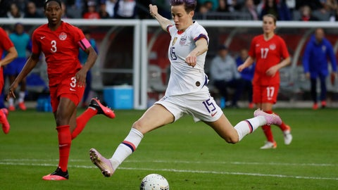 <p>               U.S. forward Megan Rapinoe scores against Canada during the second half of a CONCACAF women's Olympic qualifying soccer match Sunday, Feb. 9, 2020, in Carson, Calif. The U.S. won 3-0. (AP Photo/Chris Carlson)             </p>
