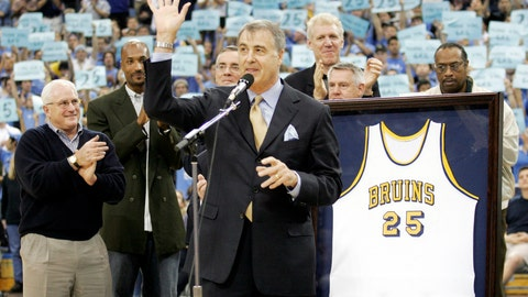 <p>               FILE - In this Dec. 18, 2004, file photo, former UCLA basketball player Gail Goodrich, foreground, waves to the crowd during a ceremony retiring his UCLA No. 25 jersey at half time of the UCLA-Michigan game in Los Angeles. More than three decades after the 1988 NBA All-Star weekend in Chicago, some details of the classic slam dunk contest showdown between Michael Jordan and Dominique Wilkins are a bit fuzzy to Hall of Famer Gail Goodrich. One of five judges for the competition, the former Los Angeles Lakers' great is, however, certain of a few things: His Airness soared to a slightly higher level than the Human Highlight Reel, there was no pressure to crown Jordan the slam dunk king on his home court and the judges were not in cahoots.(AP Photo/Francis Specker, File)             </p>