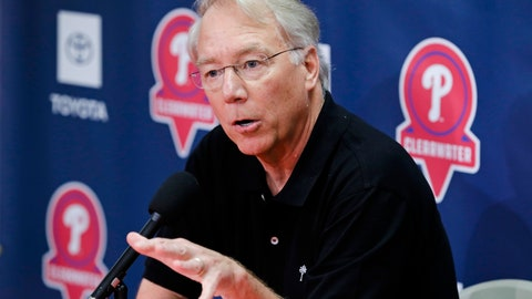 <p>               Philadelphia Phillies president Andy McPhail speaks during a news conference after a spring training baseball workout Friday, Feb. 14, 2020, in Clearwater, Fla. (AP Photo/Frank Franklin II)             </p>