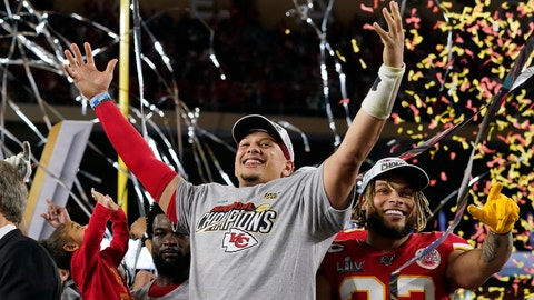 <p>               Kansas City Chiefs' Patrick Mahomes, left, and Tyrann Mathieu celebrate after defeating the San Francisco 49ers in the NFL Super Bowl 54 football game Sunday, Feb. 2, 2020, in Miami Gardens, Fla. (AP Photo/David J. Phillip)             </p>
