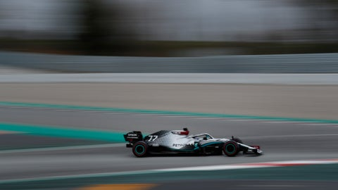 <p>               Mercedes driver Valtteri Bottas of Finland steers his car during the Formula One pre-season testing session at the Barcelona Catalunya racetrack in Montmelo, outside Barcelona, Spain, Friday, Feb. 28, 2020. (AP Photo/Joan Monfort)             </p>