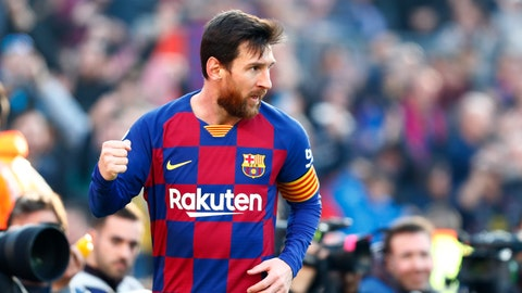 <p>               Barcelona's Lionel Messi celebrates after scoring his side's second goal during a Spanish La Liga soccer match between Barcelona and Eibar at the Camp Nou stadium in Barcelona, Spain, Saturday Feb. 22, 2020. (AP Photo/Joan Monfort)             </p>