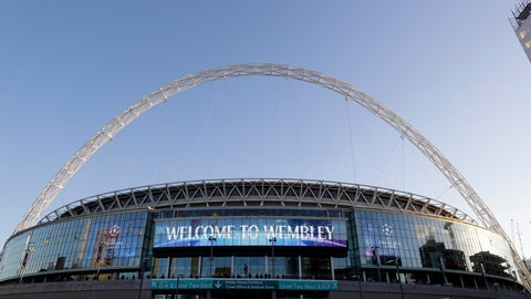 """<p>               FILE - This Oct. 3, 2018 file photo shows a view of the exterior of Wembley Stadium in London. The Jacksonville Jaguars will play two home games in London next season, strengthening the franchise's foothold in an overseas market the NFL is eager to expand. The Jaguars will play back-to-back games at historic Wembley Stadium, giving them a potential """"home-field"""" advantage in the second one since they won't have to travel that week. Specific dates were not announced.(AP Photo/Kirsty Wigglesworth, File)             </p>"""