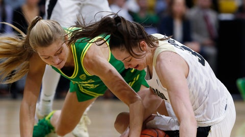 <p>               Oregon forward Lydia Giomi, left, fights for control of a loose ball with Colorado guard Emma Clarke in the first half of an NCAA college basketball game Saturday, Feb. 1, 2020, in Boulder, Colo. (AP Photo/David Zalubowski)             </p>