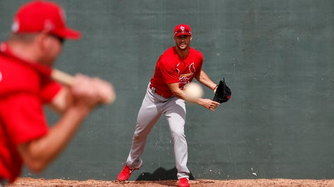 <p>               St. Louis Cardinals pitcher Jack Flaherty, right, works on fielding a ball hit back to him by bullpen coach Bryan Eversgerd during spring training baseball practice Sunday, Feb. 16, 2020, in Jupiter, Fla. (AP Photo/Jeff Roberson)             </p>