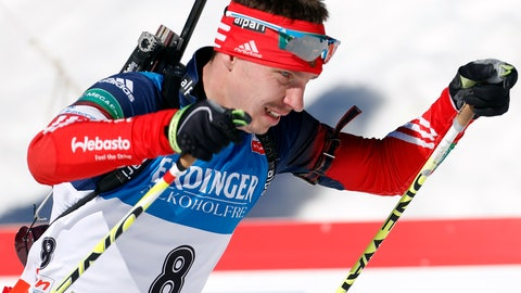 <p>               FILE - In this file photo dated Sunday, March 9, 2014, Russia's Evgeny Ustyugov competes in the men's 15km mass start at the biathlon World Cup competition in Pokljuka, Slovenia. The International Biathlon Union on Saturday Feb. 15, 2020, issued a two-year ban for Russia's Evgeny Ustyugov, who was part of the gold medal-winning men's relay team at the 2014 Sochi Winter Olympics. (AP Photo/Darko Bandic, FILE)             </p>