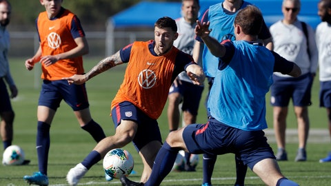 <p>               Paul Arriola, center, a forward on the U.S. Men's National Soccer team, kicks the ball during a scrimmage Wednesday, Jan. 8, 2020, in Bradenton, Fla. The team moved its training camp from Qatar to Florida in the wake of Iran's top military commander being killed during a U.S. airstrike in the Middle East. (AP Photo/Chris O'Meara)             </p>