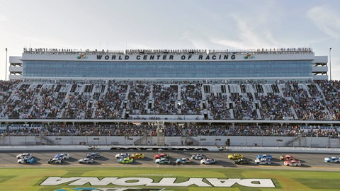 <p>               Drivers take the green flag to restart the NASCAR Daytona 500 auto race Monday, Feb. 17, 2020, at Daytona International Speedway in Daytona Beach, Fla. Sunday's running of the race was postponed due to rain. (AP Photo/Chris O'Meara)             </p>