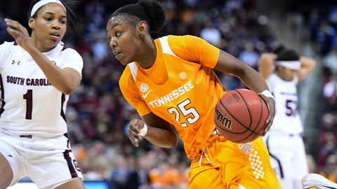 <p>               Tennessee guard Jordan Horston (25) dribbles against South Carolina guard Zia Cooke (1) during the first half of an NCAA college basketball game Sunday, Feb. 2, 2020, in Columbia, S.C. (AP Photo/Sean Rayford)             </p>