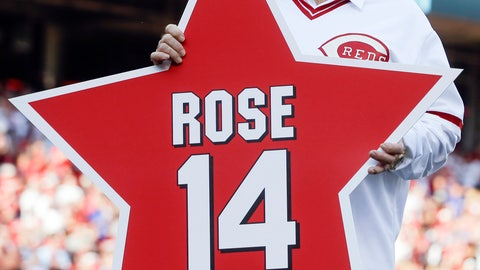 <p>               FILE -In this June 24, 2016, file photo, former Cincinnati Reds player Pete Rose (14) holds his place marker during a ceremony to honor the 1976 World Series champion team, before the Reds' baseball game against the San Diego Padres in Cincinnati. Rose once again asked Major League Baseball to end his lifetime ban, saying the penalty is unfair compared with discipline for steroids use and electronic sign stealing. Rose's lawyers submitted the application Wednesday, Feb. 5, 2020, to baseball Commissioner Rob Manfred, who in December 2015 denied the previous request by the career hits leader. (AP Photo/John Minchillo, File)             </p>