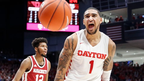 <p>               Dayton's Obi Toppin (1) reacts after dunking during the first half of an NCAA college basketball game against Massachusetts, Saturday, Jan. 11, 2020, in Dayton. (AP Photo/John Minchillo)             </p>