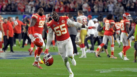 <p>               Kansas City Chiefs' Frank Clark celebrates after defeating the San Francisco 49ers in the NFL Super Bowl 54 football game Sunday, Feb. 2, 2020, in Miami Gardens, Fla. (AP Photo/Mark J. Terrill)             </p>