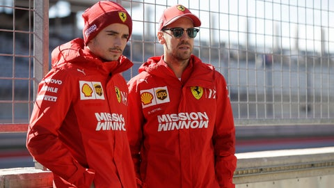 """<p>               FILE - In this Oct. 31, 2019 file photo Ferrari driver Charles Leclerc, of Monaco, and Ferrari driver Sebastian Vettel, of Germany, pose for a photo during the Formula One U.S. Grand Prix auto race at the Circuit of the Americas, in Austin, Texas. Ferrari team members acknowledged that they need to """"learn from mistakes"""" committed last season as they presented their new Formula One car Tuesday. (AP Photo/Darron Cummings)             </p>"""