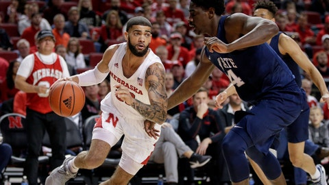 <p>               Nebraska's Haanif Cheatham, left, drives to the basket against Penn State's Mike Watkins (24) during the first half of an NCAA college basketball game in Lincoln, Neb., Saturday, Feb. 1, 2020. (AP Photo/Nati Harnik)             </p>