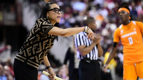 <p>               South Carolina coach Dawn Staley communicates with players during the first half of an NCAA college basketball game against Tennessee, Sunday, Feb. 2, 2020, in Columbia, S.C. (AP Photo/Sean Rayford)             </p>