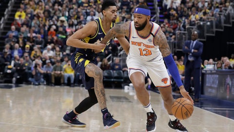 <p>               New York Knicks' Marcus Morris Sr. (13) is defended by Indiana Pacers' Jeremy Lamb (26) during the first half of an NBA basketball game, Saturday, Feb. 1, 2020, in Indianapolis. (AP Photo/Darron Cummings)             </p>