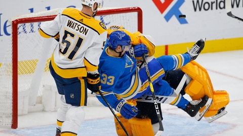 <p>               St. Louis Blues' Jordan Kyrou, front center, is tripped up by Nashville Predators goaltender Juuse Saros, back center, of Finland, as Austin Watson defends during the third period of an NHL hockey game Saturday, Feb. 15, 2020, in St. Louis. (AP Photo/Billy Hurst)             </p>